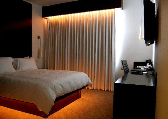 Inside a guestroom at O Hotel in downtown L.A.