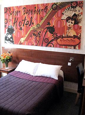 A guest room at the Hôtel du Séjour Beaubourg.