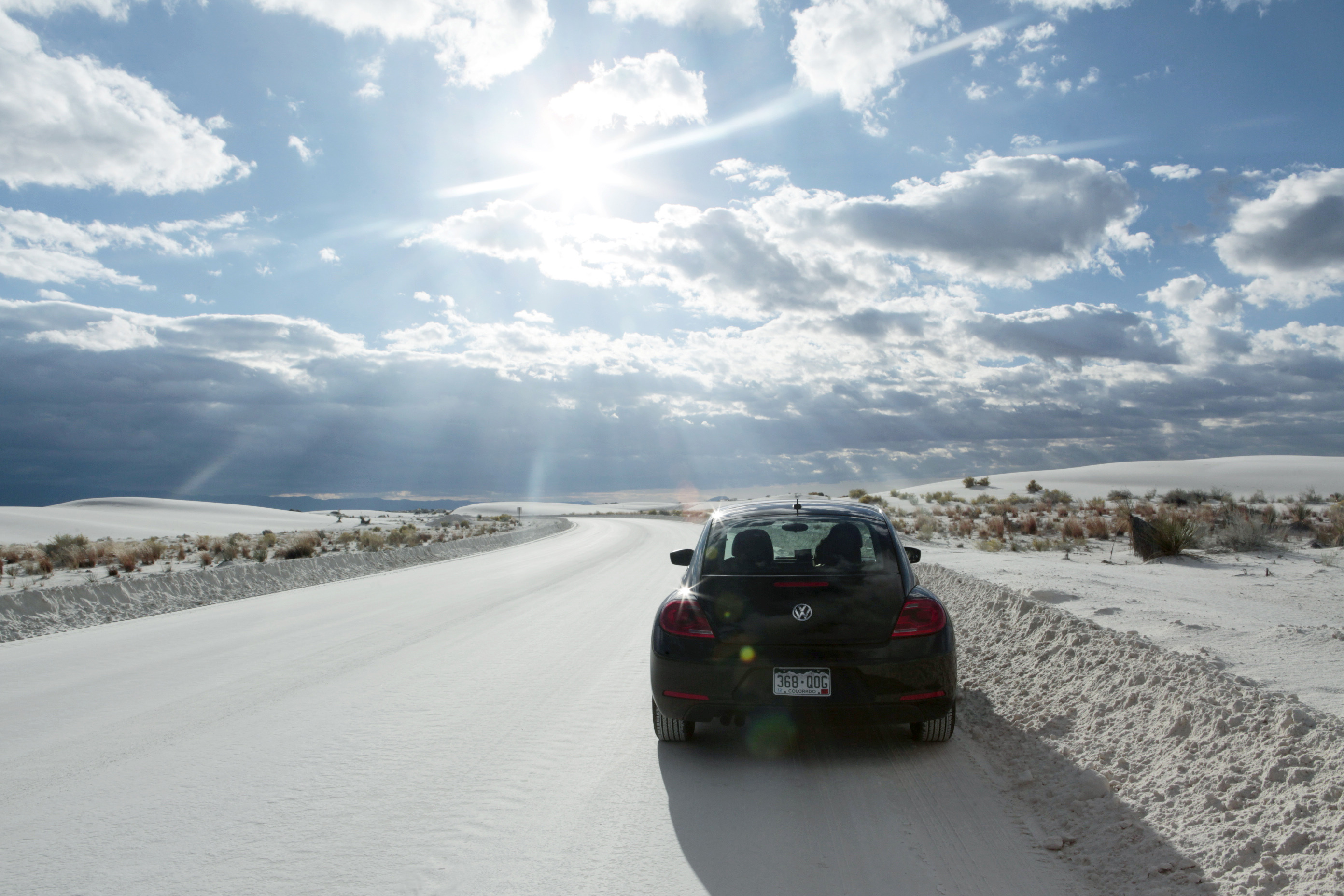 Our rental VW Bug tackles the powdery terrain of White Sands National