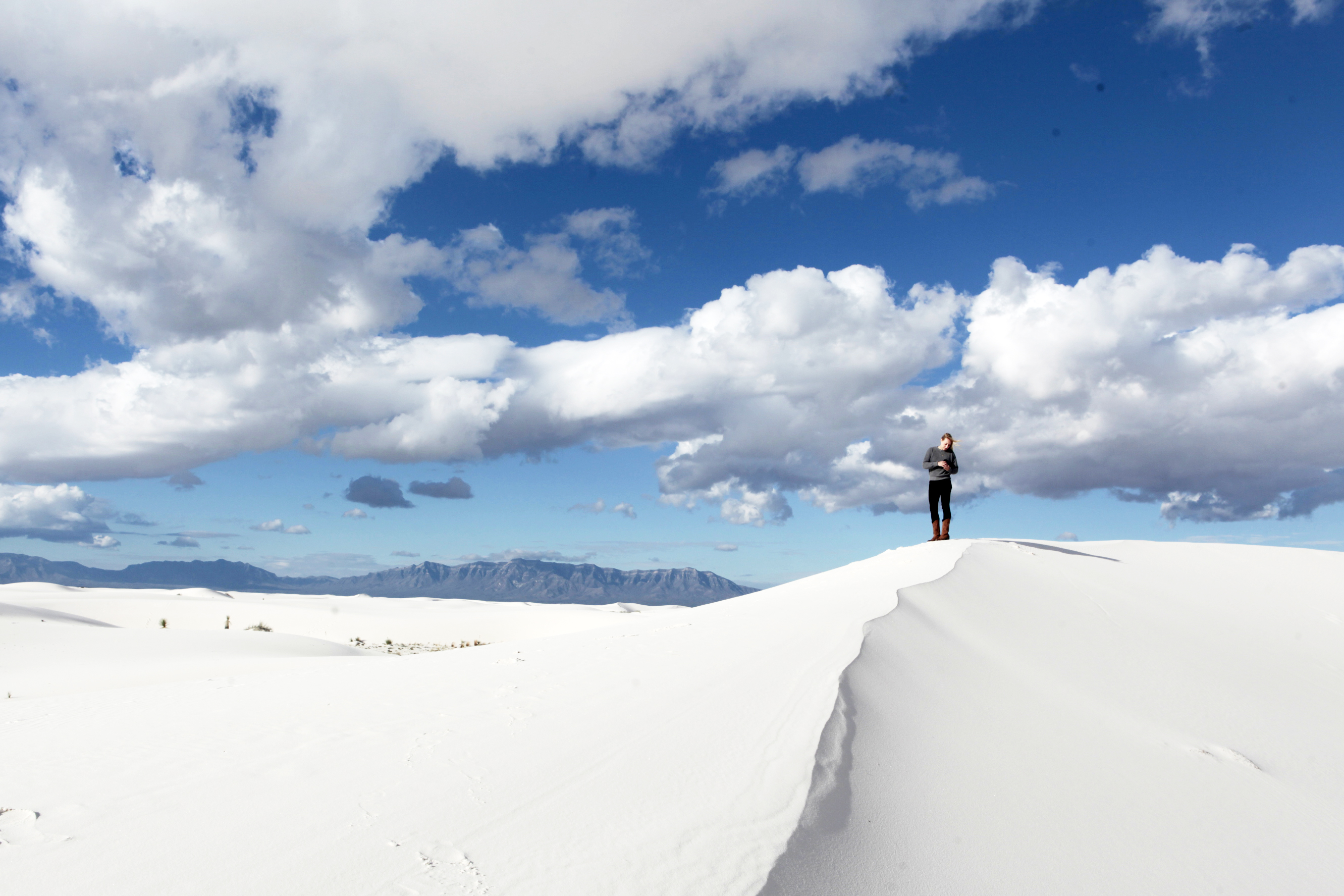 """""""I'm on top of the world!"""" in White Sands."""