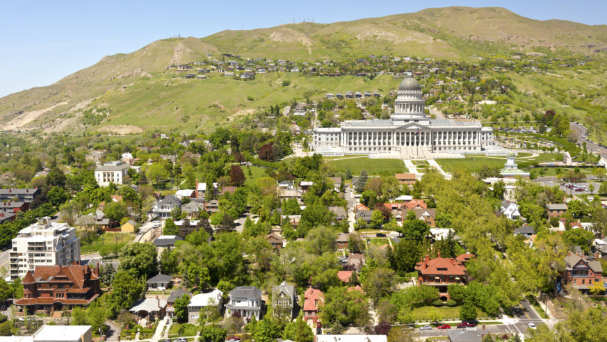 Hillside With Capital Building And Houses