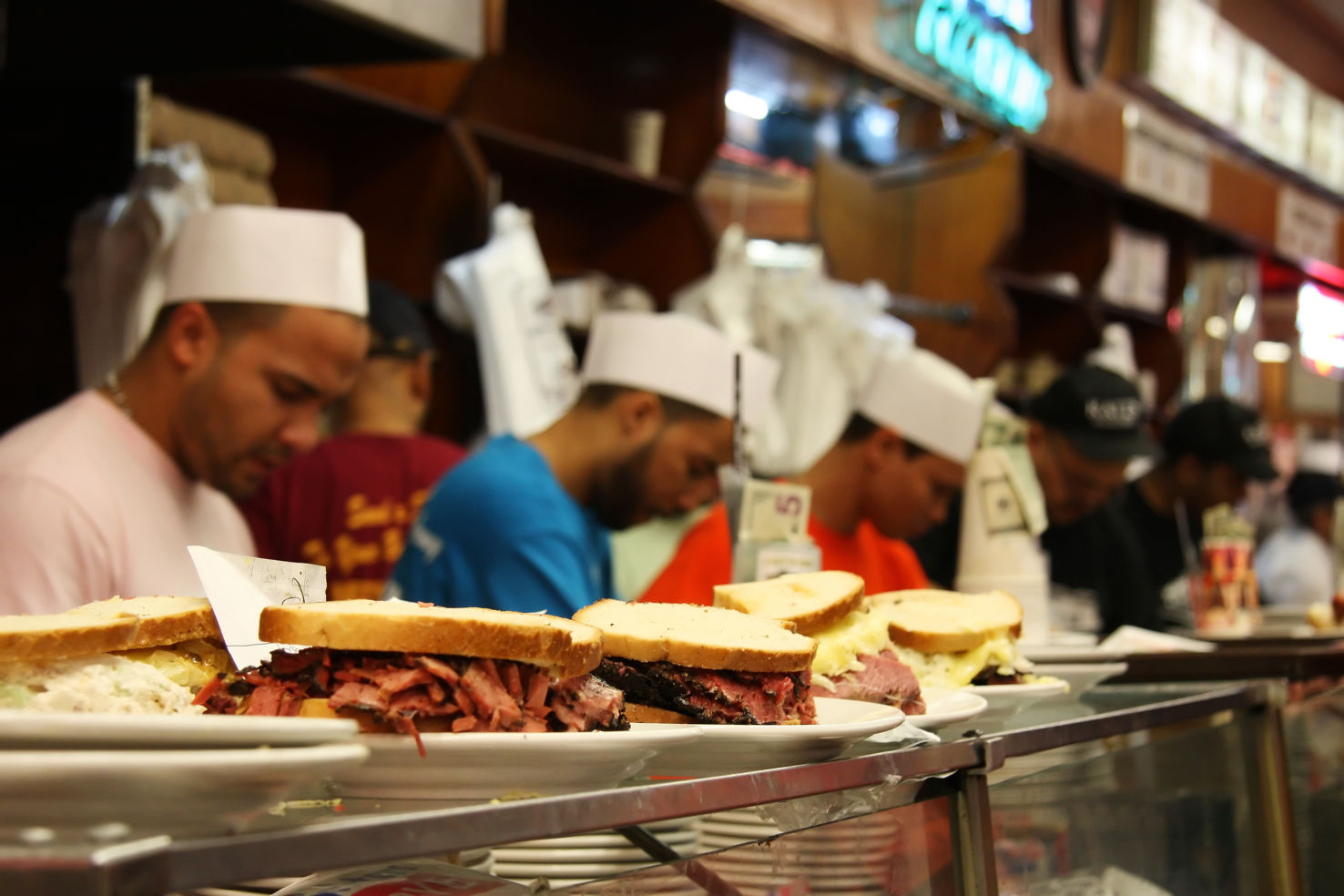 Pastrami sandwiches, Katz's Deli, New York City, Manhattan
