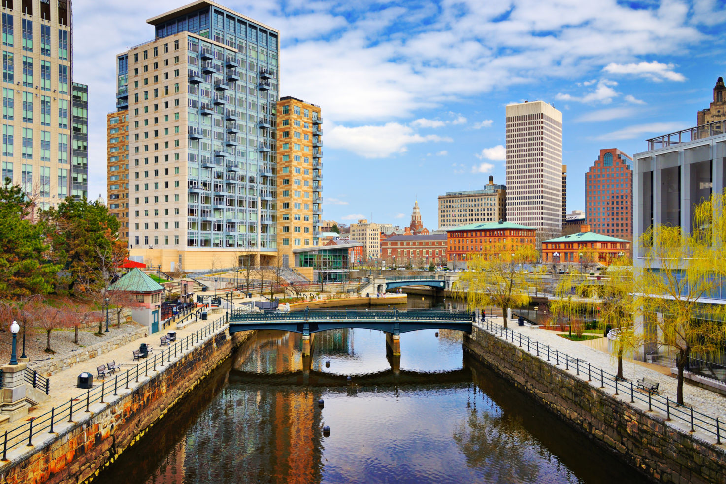Downtown Providence, Rhode Island, cityscape, Waterplace Park