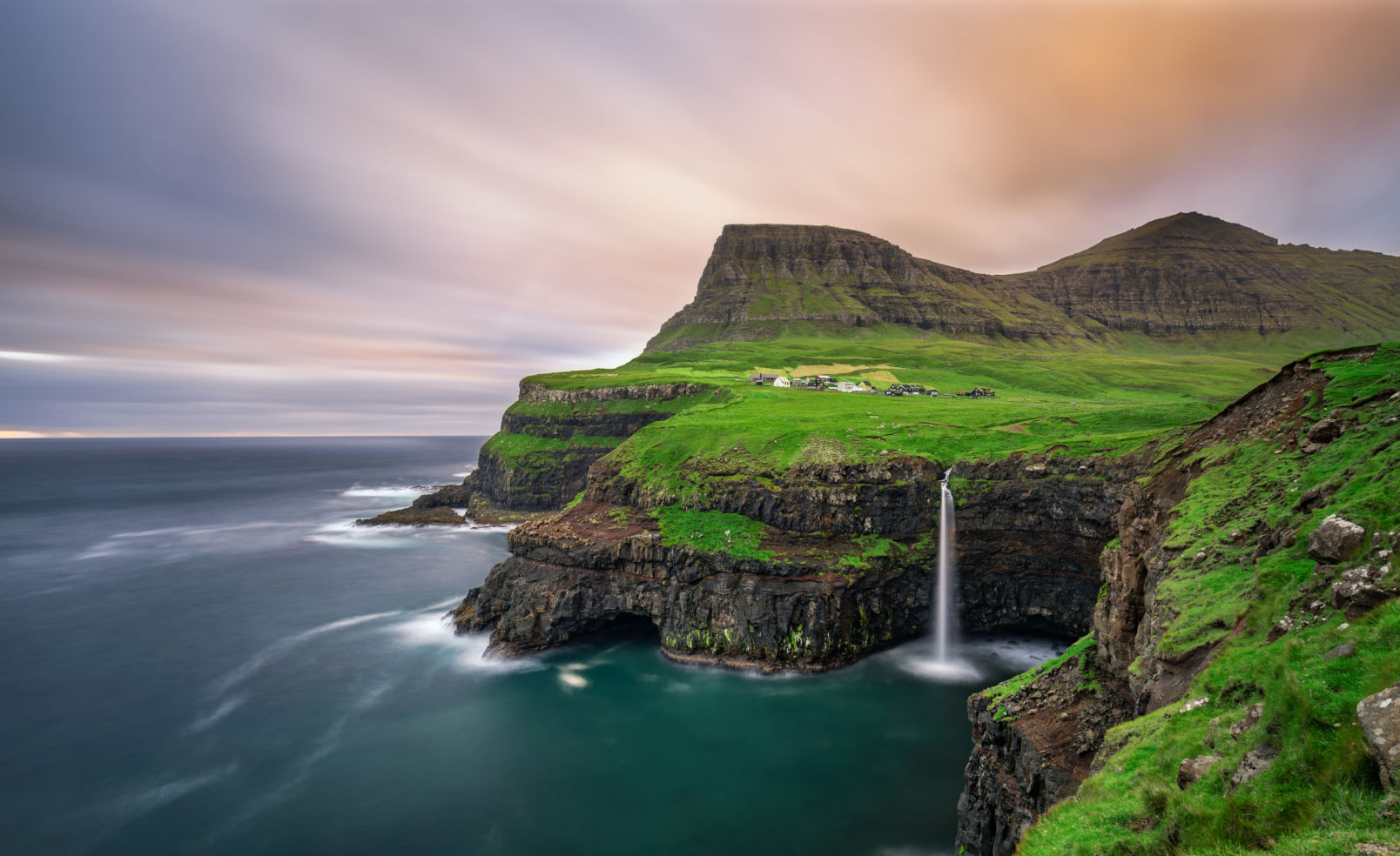 Gasadalur, waterfall, Vagar, Faroe Islands, Denmark
