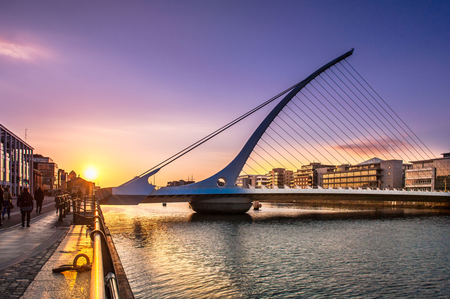 harp shaped, Samuel Beckett Bridge, Liffey river, Dublin, Ireland