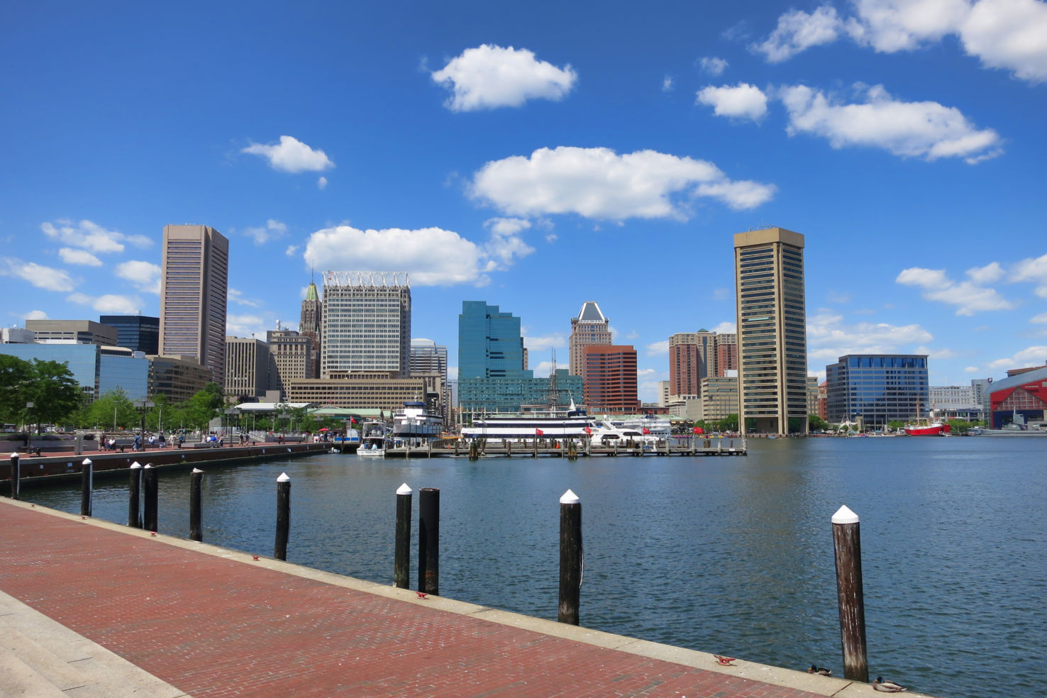 Baltimore Maryland inner Harbor, downtown skyline cityscape, excursion boats, port