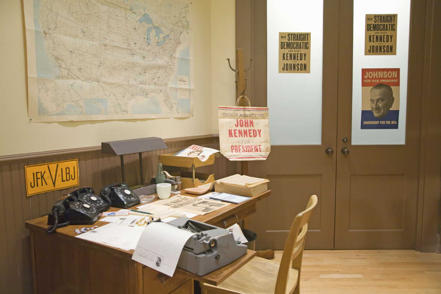 Campaign office interior setting in John F. Kennedy Presidential Library and Museum, Boston, MA.