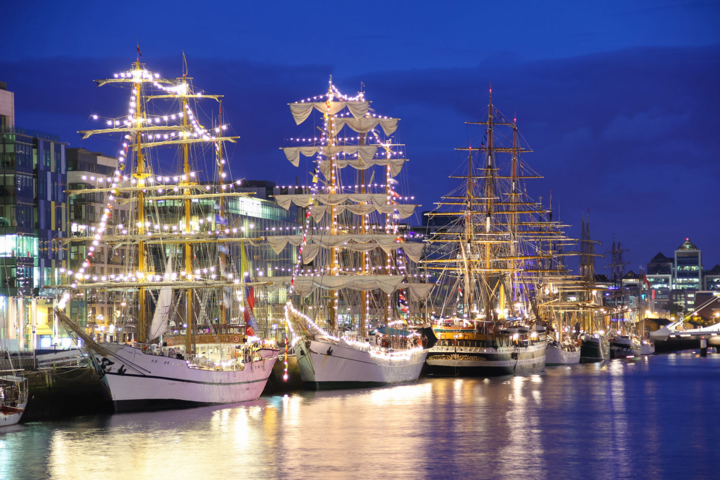 Tall ships, Liffey river, Dublin, Ireland