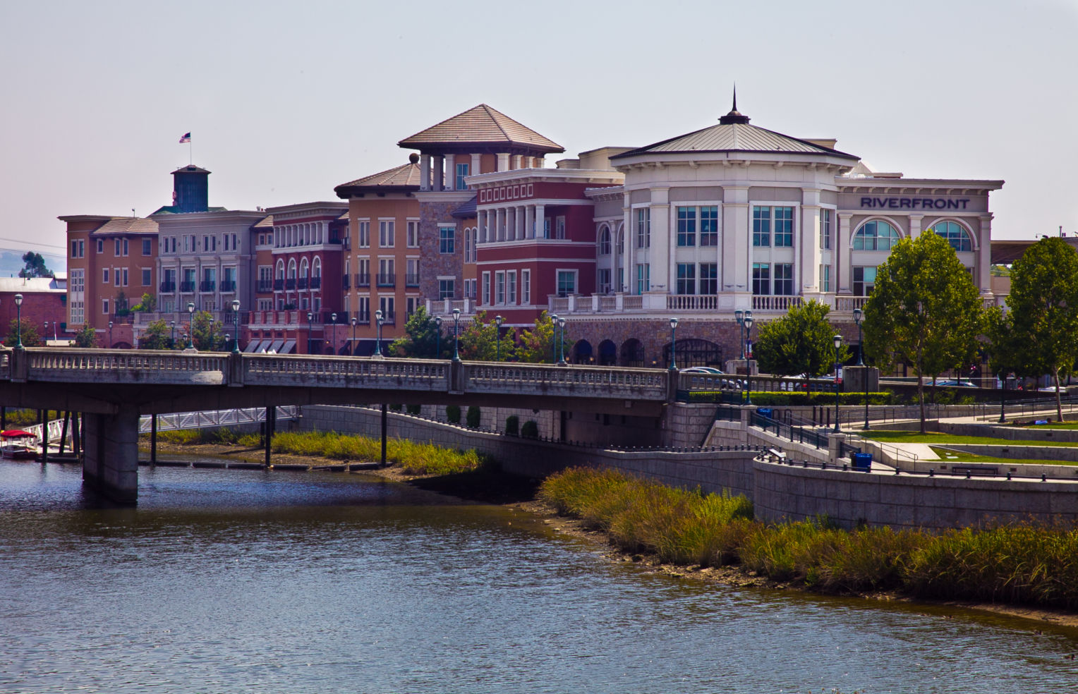 riverfront buildings, downtown Napa, California, CA