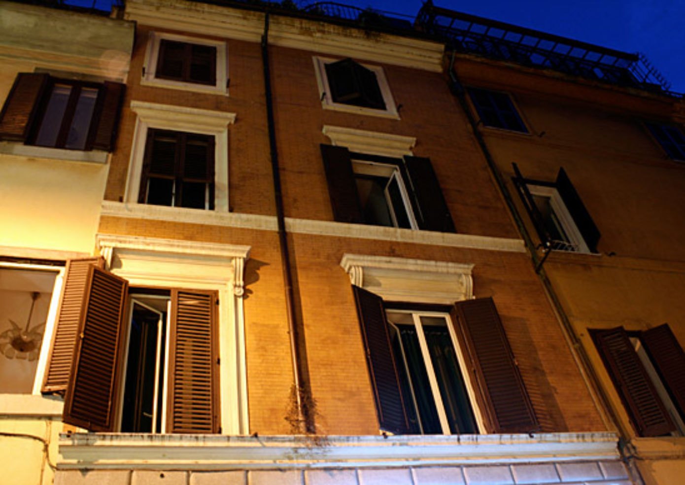 The façade of Hotel Panda, which resembles a typical apartment building in Rome's historic center.