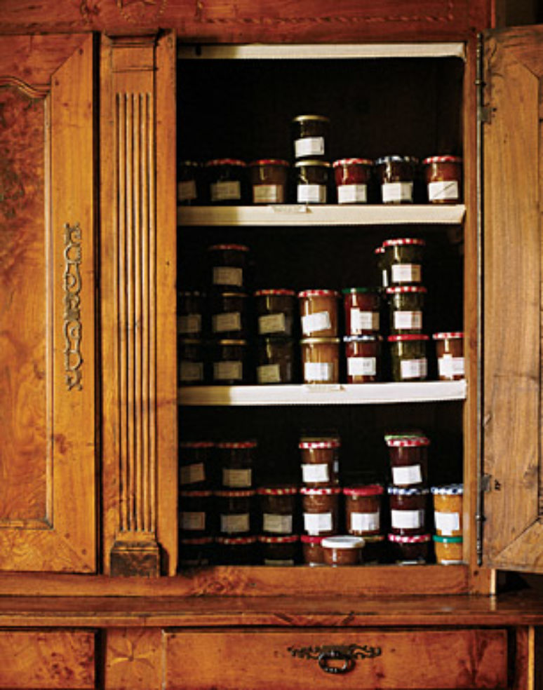 Fresh jams fill a cabinet at Hôtel Diderot.