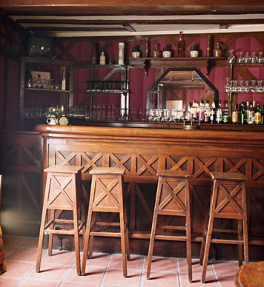 The bar at La Roseraie, an inn where Harry Truman stayed after World War II.