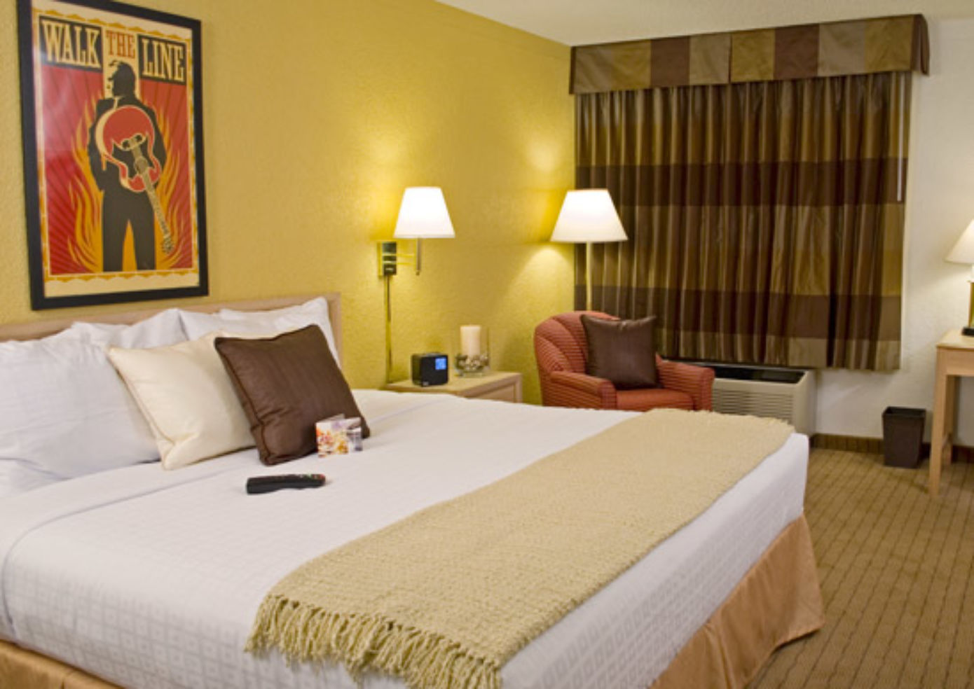 Inside a guest room at the Hollywood Heights Hotel.