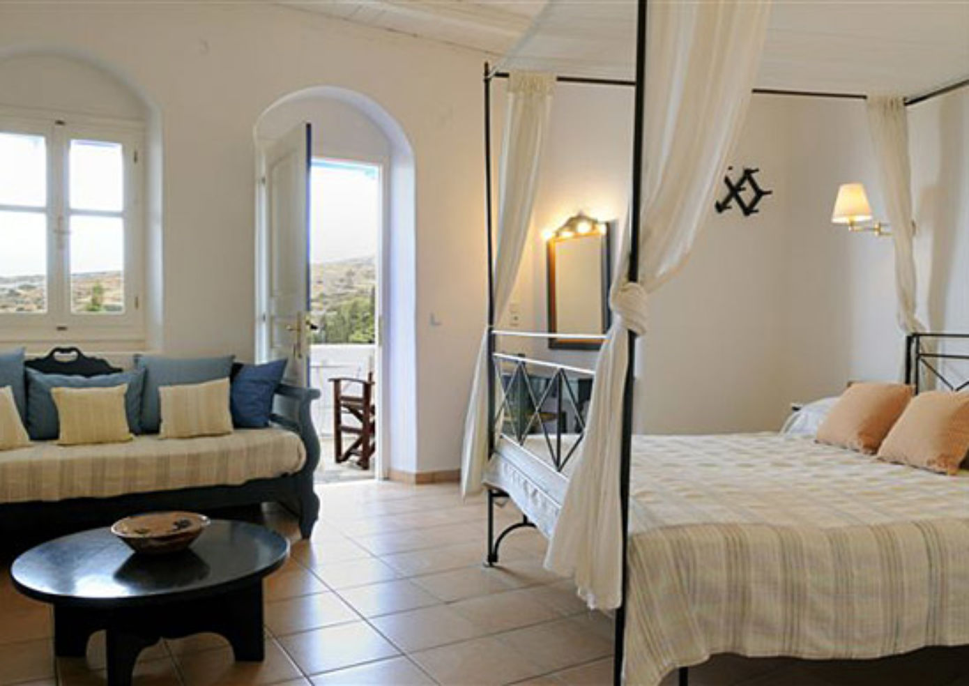 A guest room at Lefkes Village.