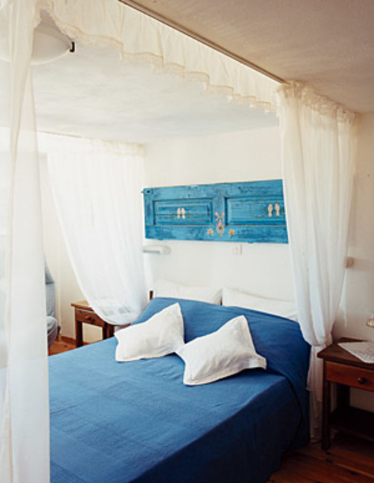 A guest room at the Kastro Apartments.