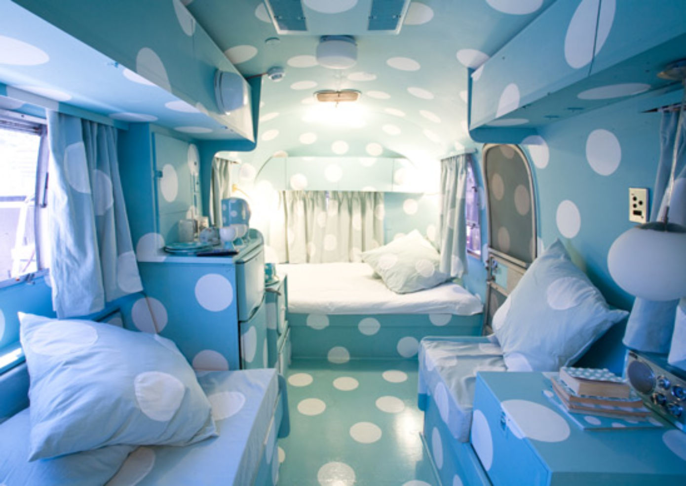 Inside one of the airstream trailers at Airstream Penthouse Trailer Park