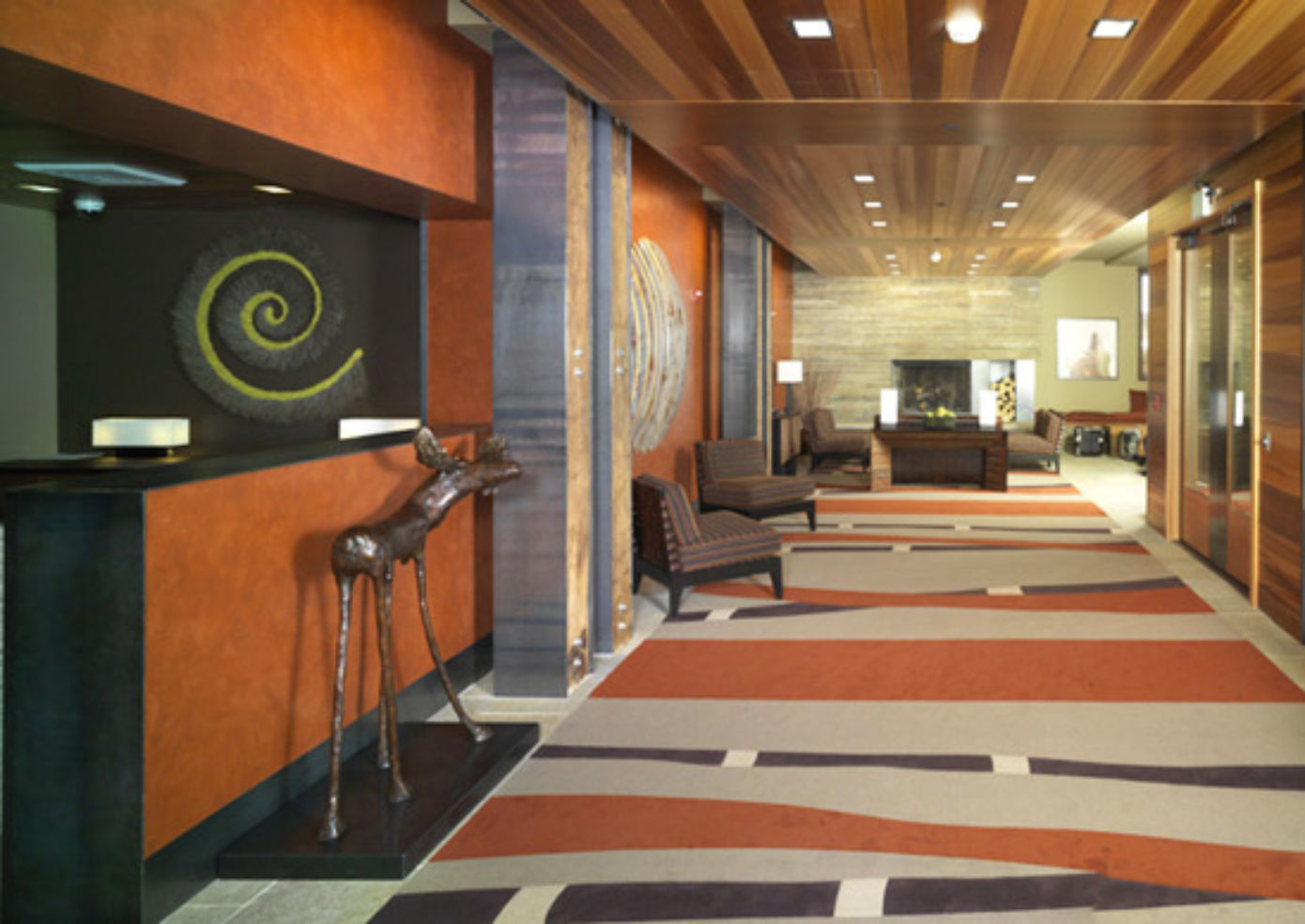 The lobby at Hotel Terra Jackson Hole