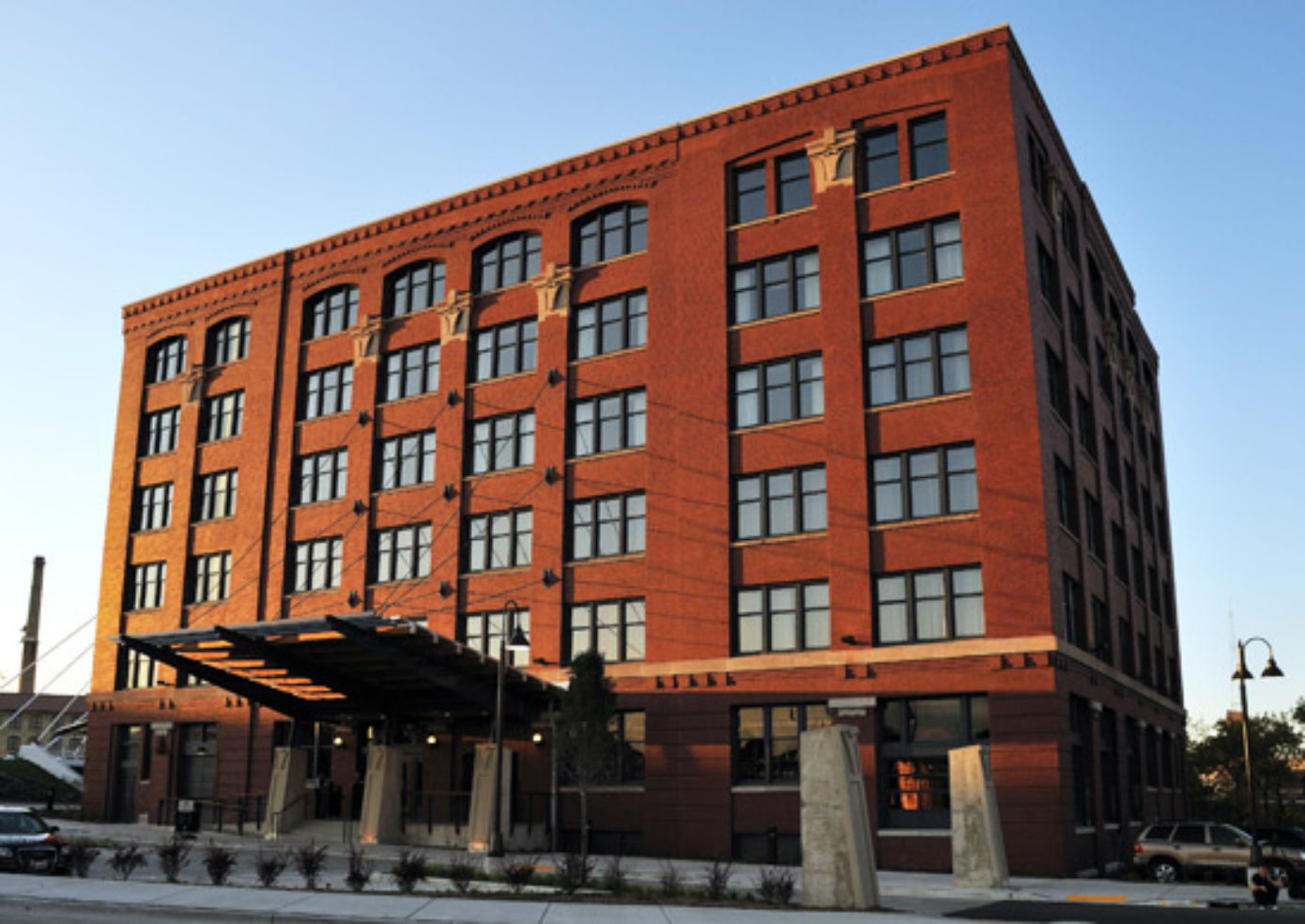 The Iron Horse Hotel in Milwaukee, down the street from the Harley-Davidson Museum