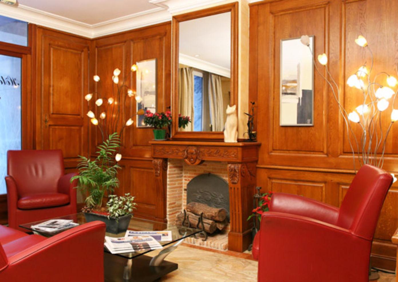 The lobby at Hotel Muguet