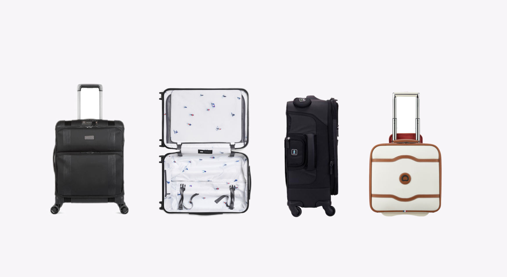 black and white suitcases