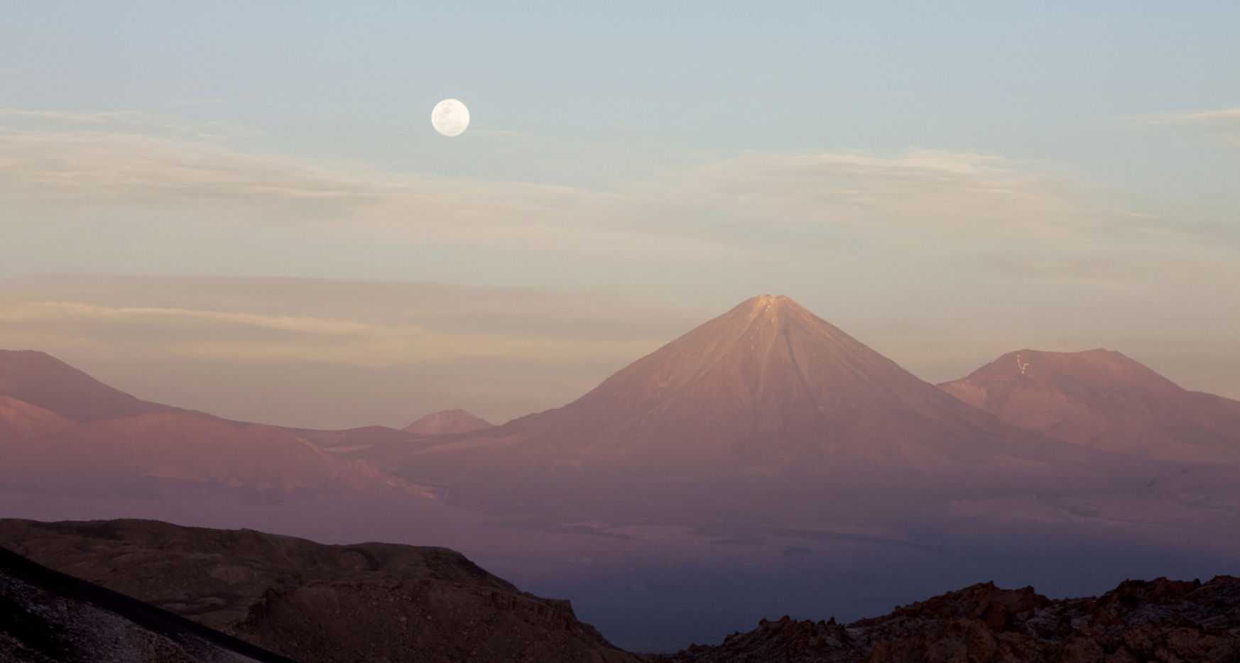 Moonrise over Licancabur volcano (19,423 ft) in the Atacama desert