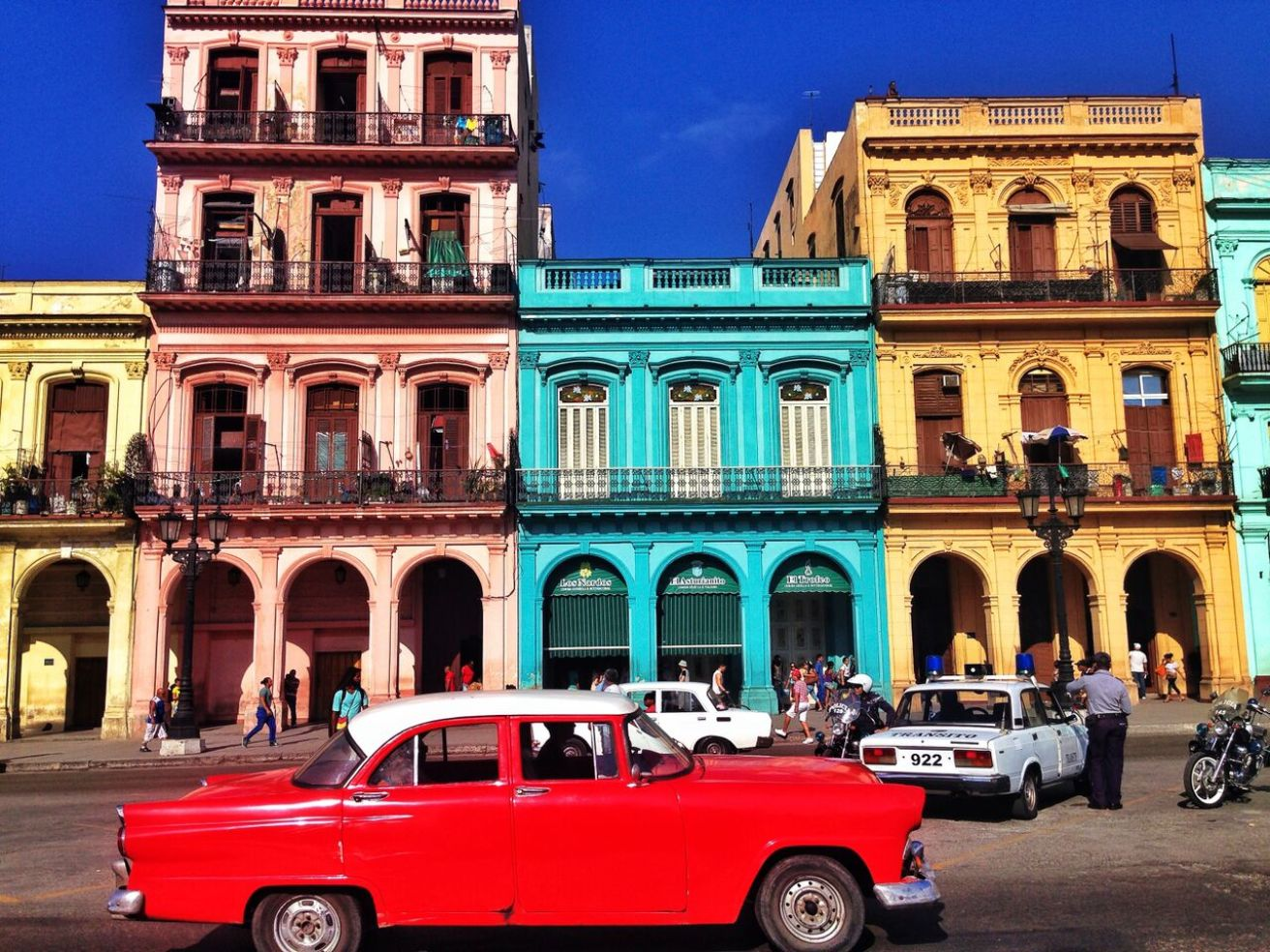 Colorful buildings in Old Havana, Cuba