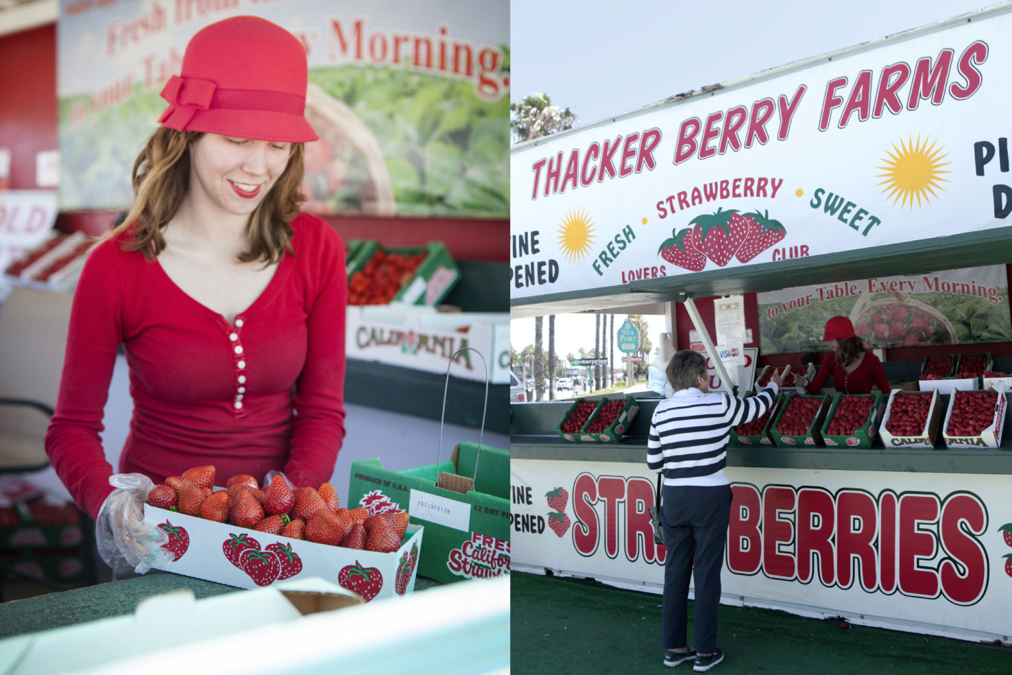 Allie Rose at Thacker Berry Farms stand in California