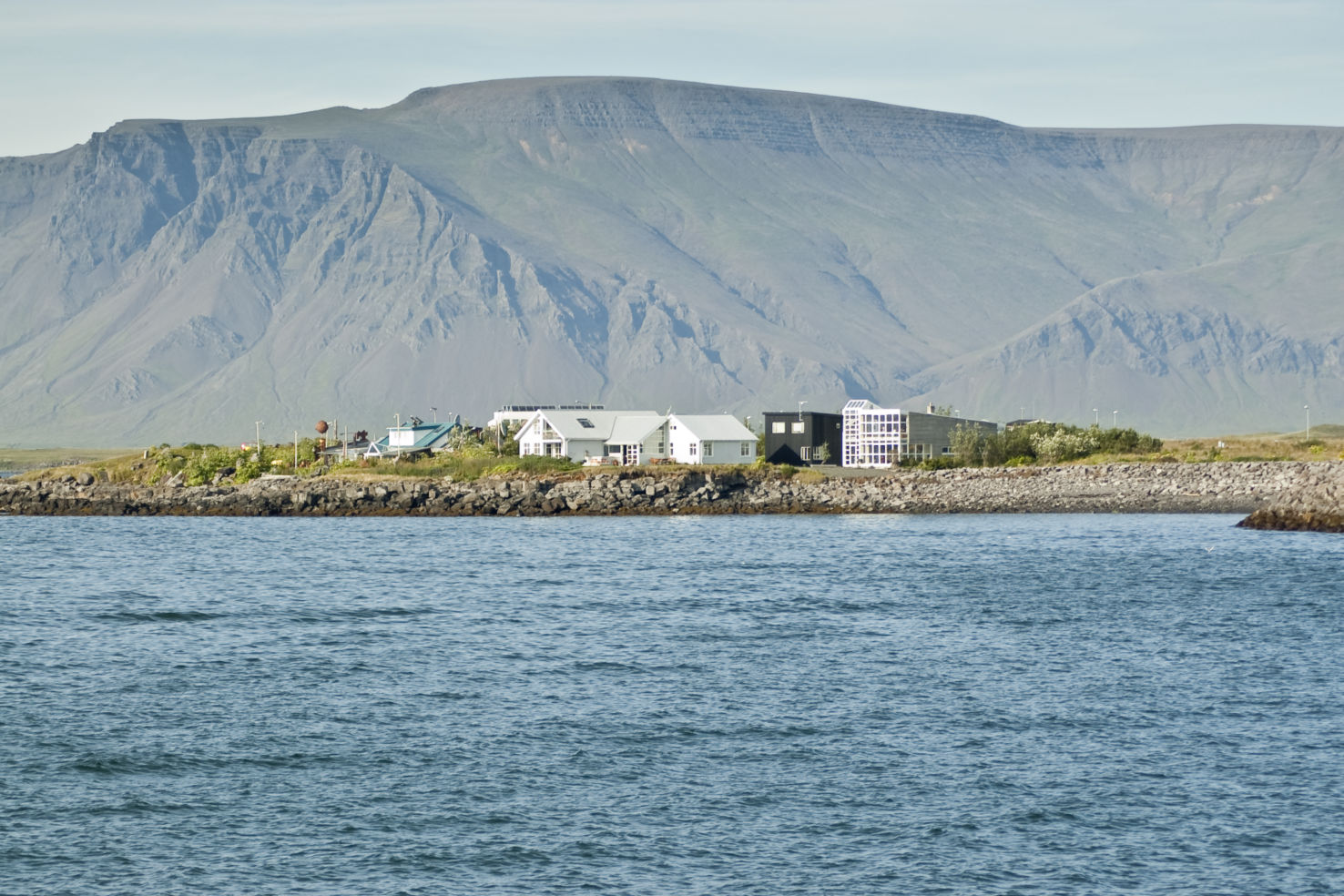 Faxafloi bay, volcanic hill, Reykjavik, Iceland.