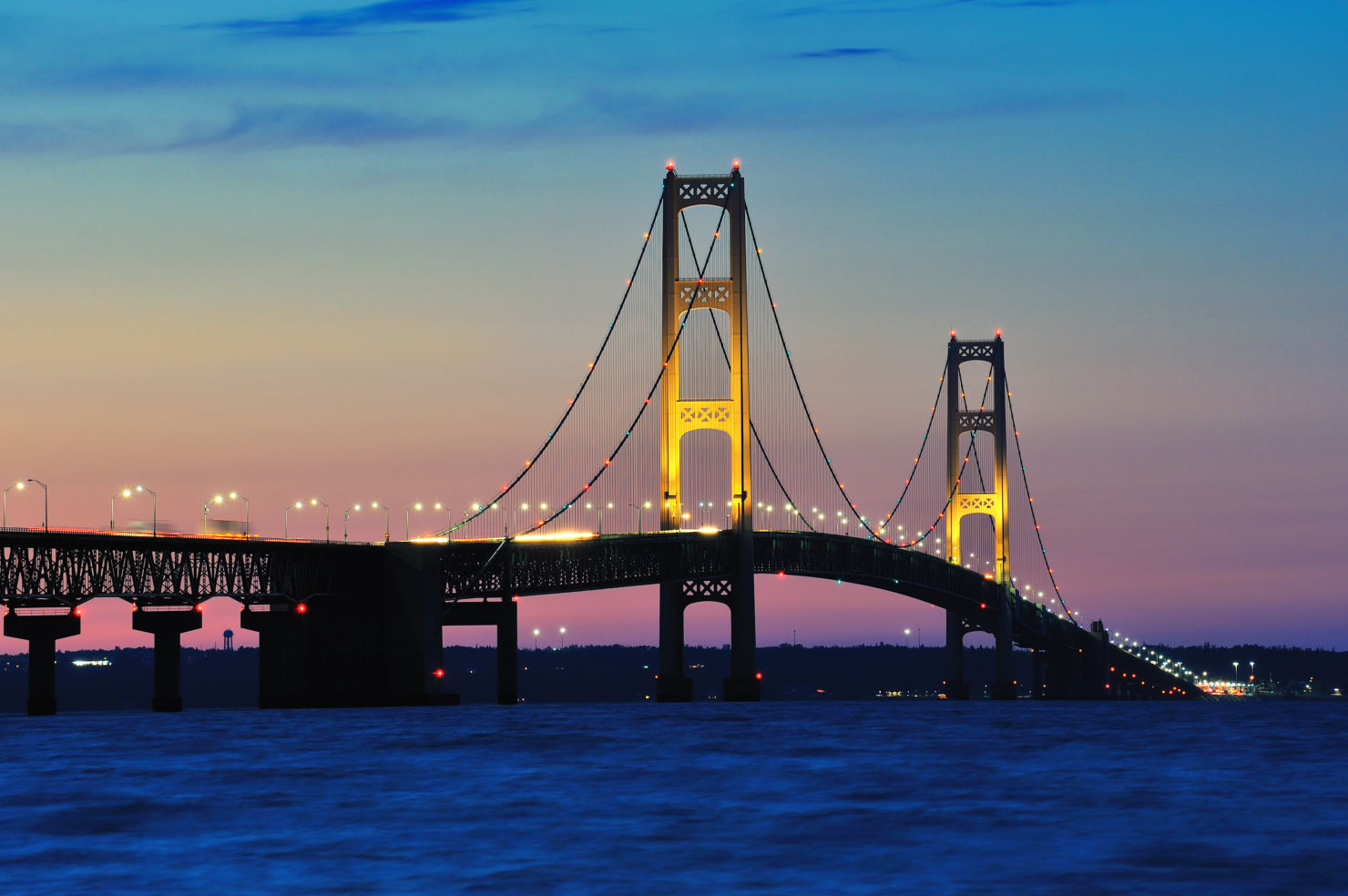 Bridge Lights, Michigan's Mackinac Bridge, Mackinaw City, Michigan