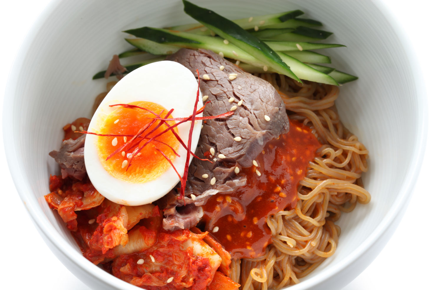 Naengmyeon, traditional Korean cold noodle, Ojangdong, Seoul, South Korea