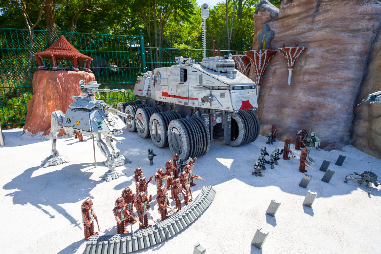 Episode from Star Wars with walkers made from plastic lego blocks in Legoland, Gunzburg, Germany.