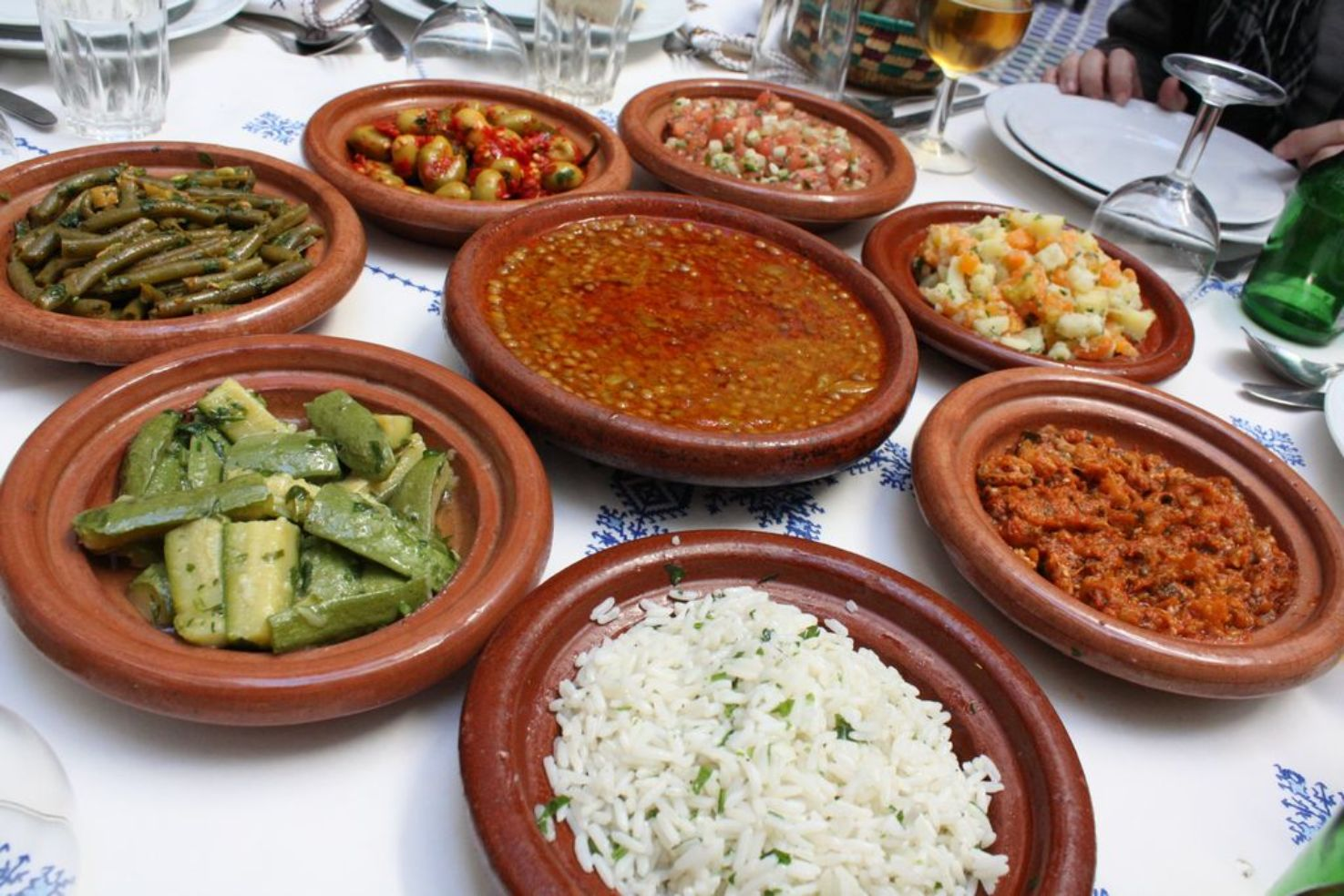 Traditional tagine dishes in Marrakech