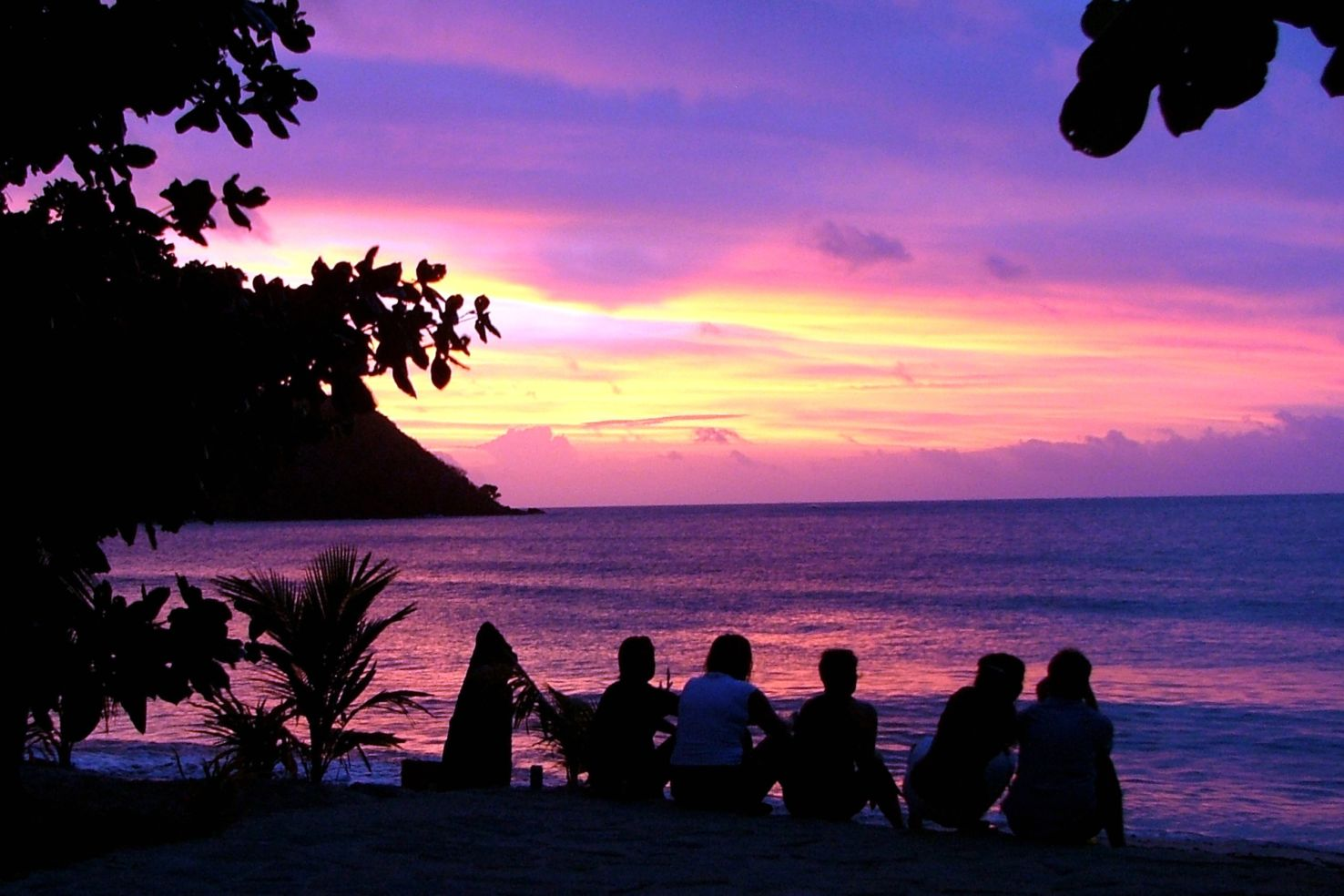 Sunset on the beach in Fiji