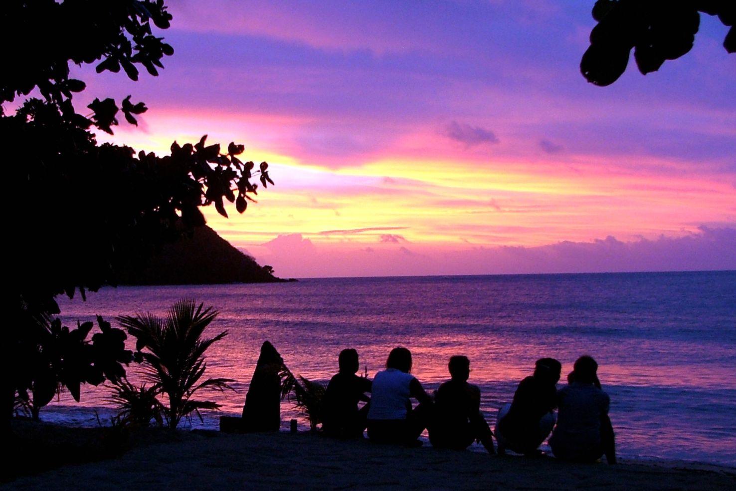 Sunset on the beach in Fiji