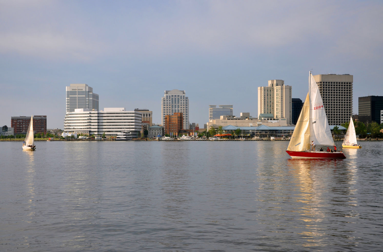 Norfolk city skyline and Elizabeth River at sunset, Virginia