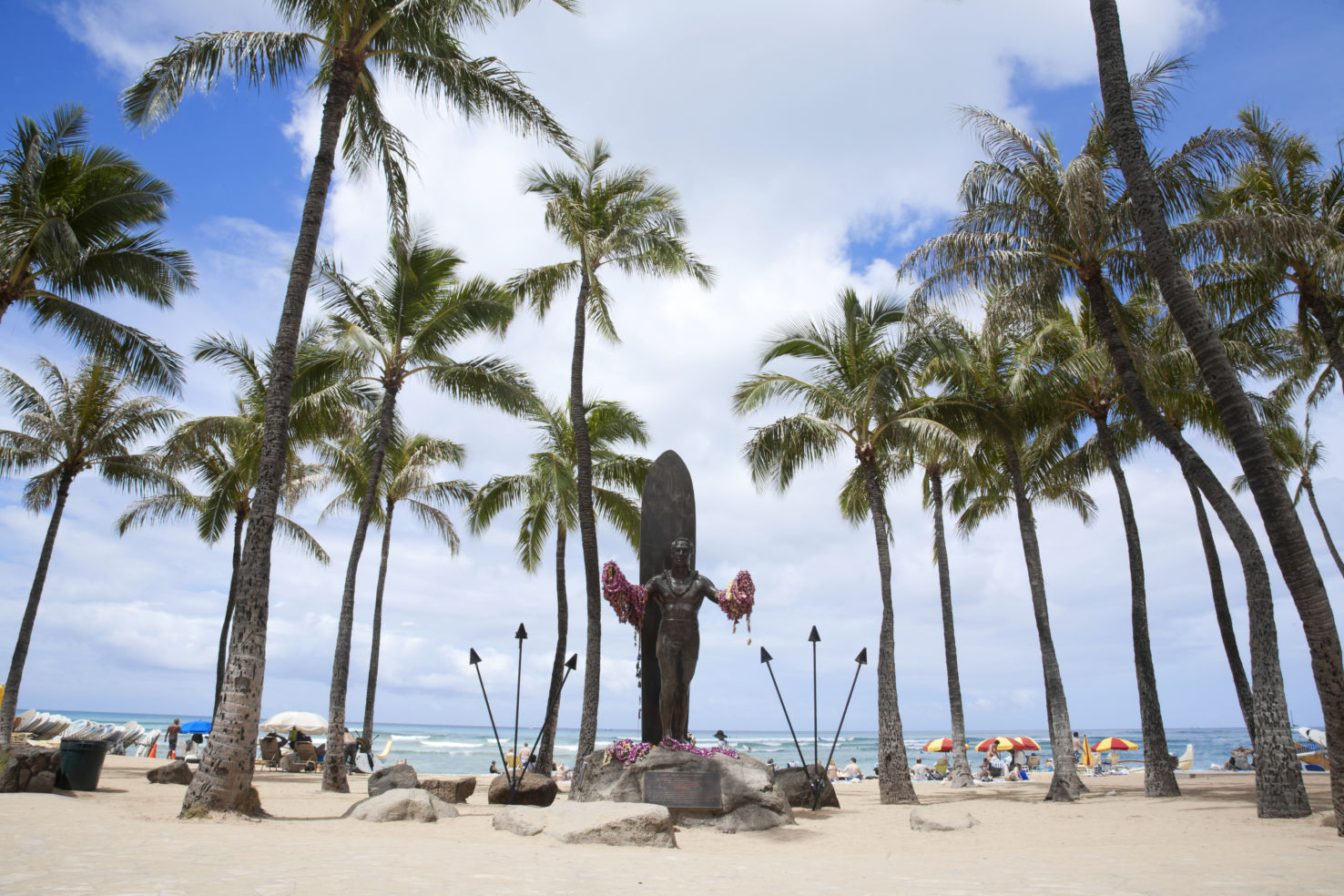 A sunny day at Waikiki Beach on the island of Oahu