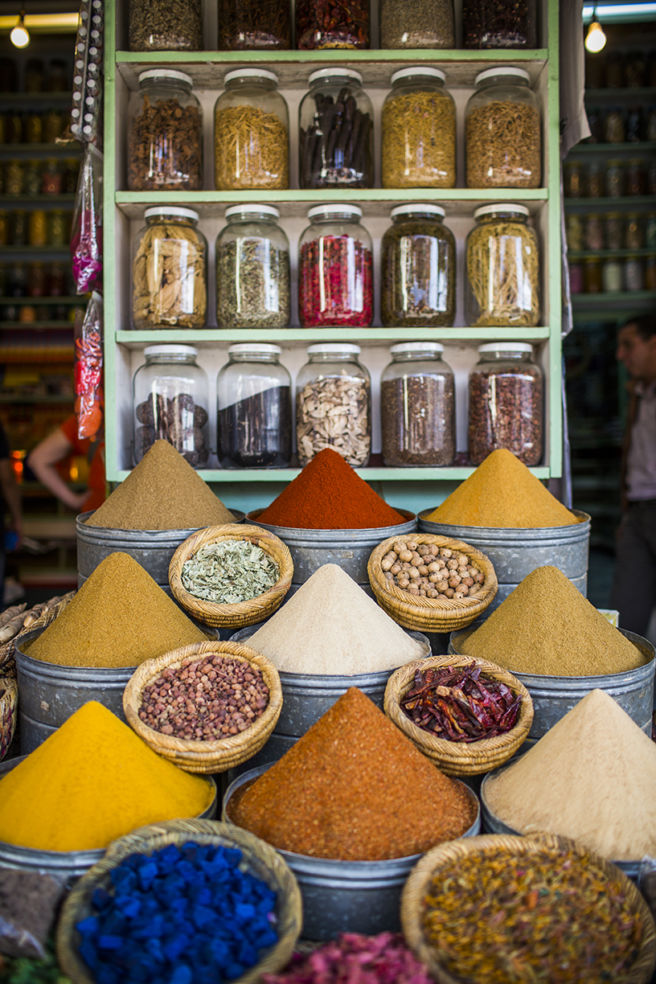 Exotic spices at a Marrakech market