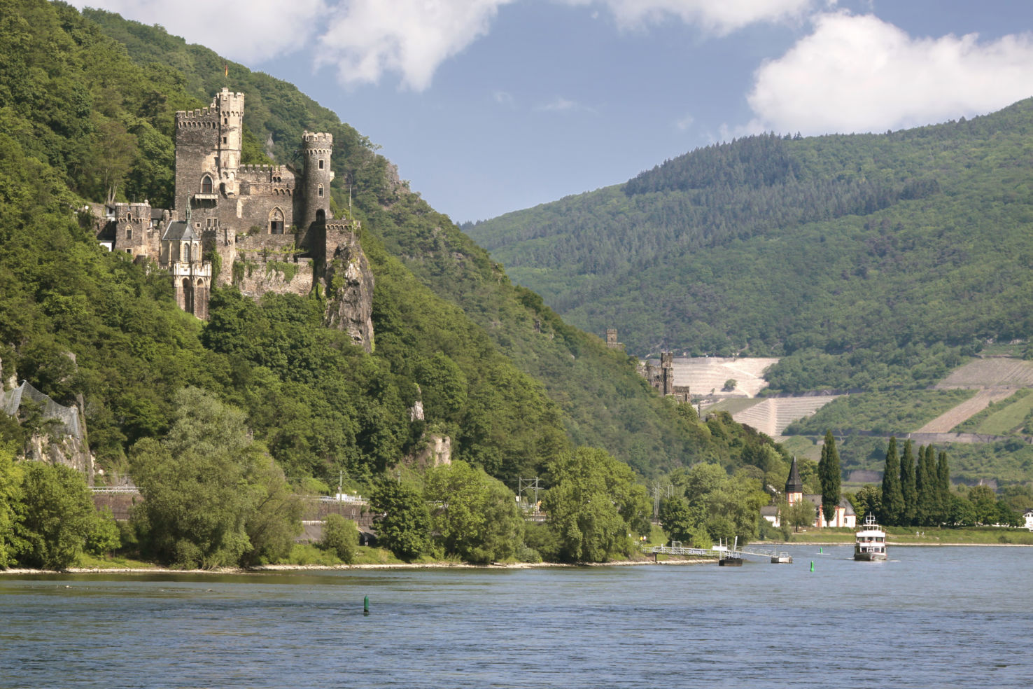 Castle Reichenstein near Trechtingshausen in Middle Rhine Valley, Rhineland-Palatinate, Germany.