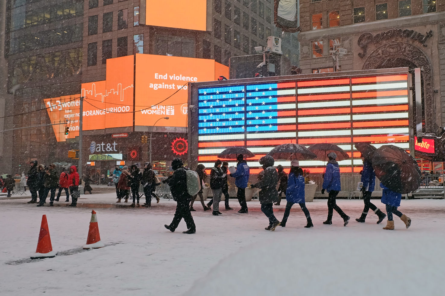 Snow picks up speed in Times Square