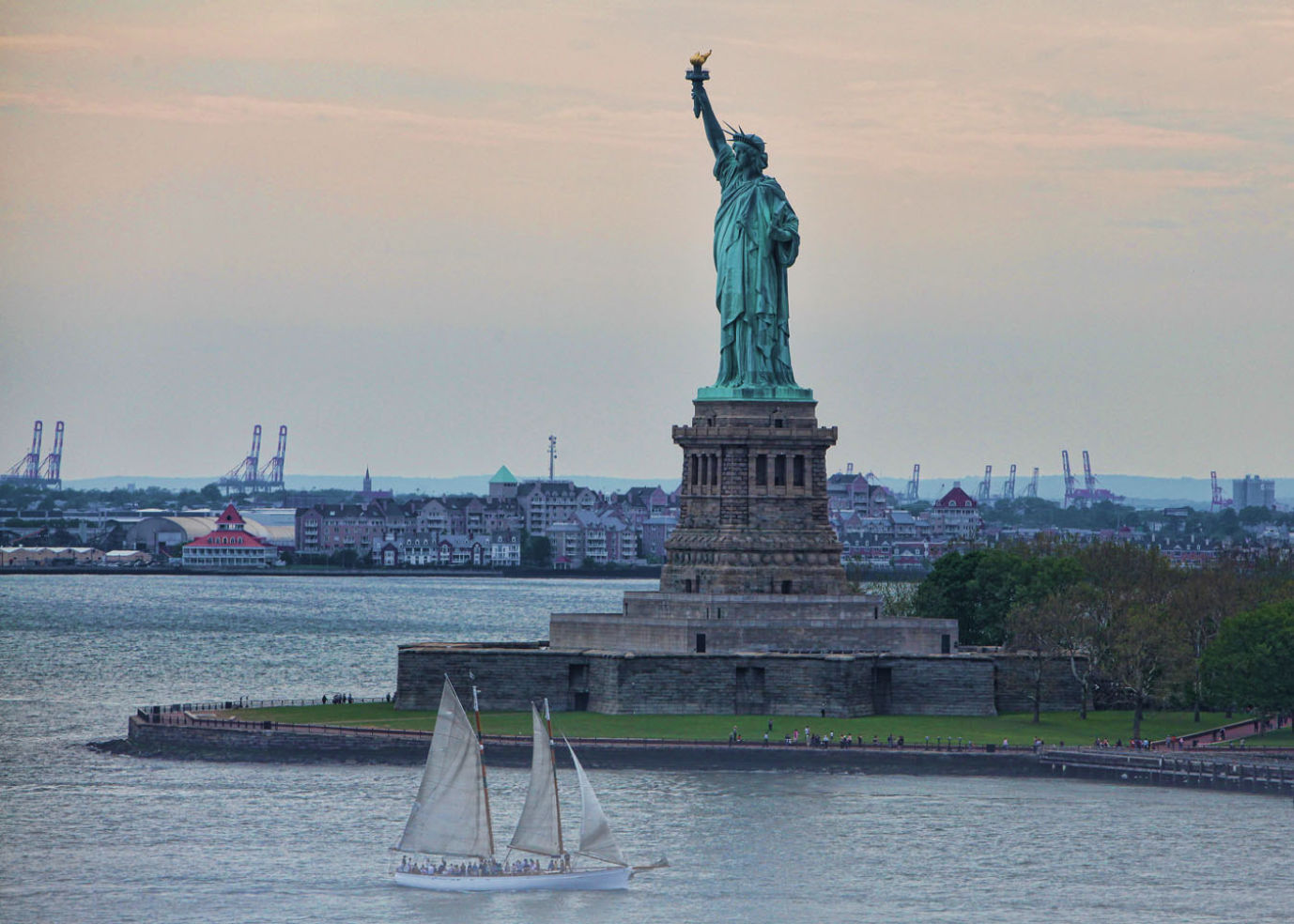 A view of the Statue of Liberty in New York City