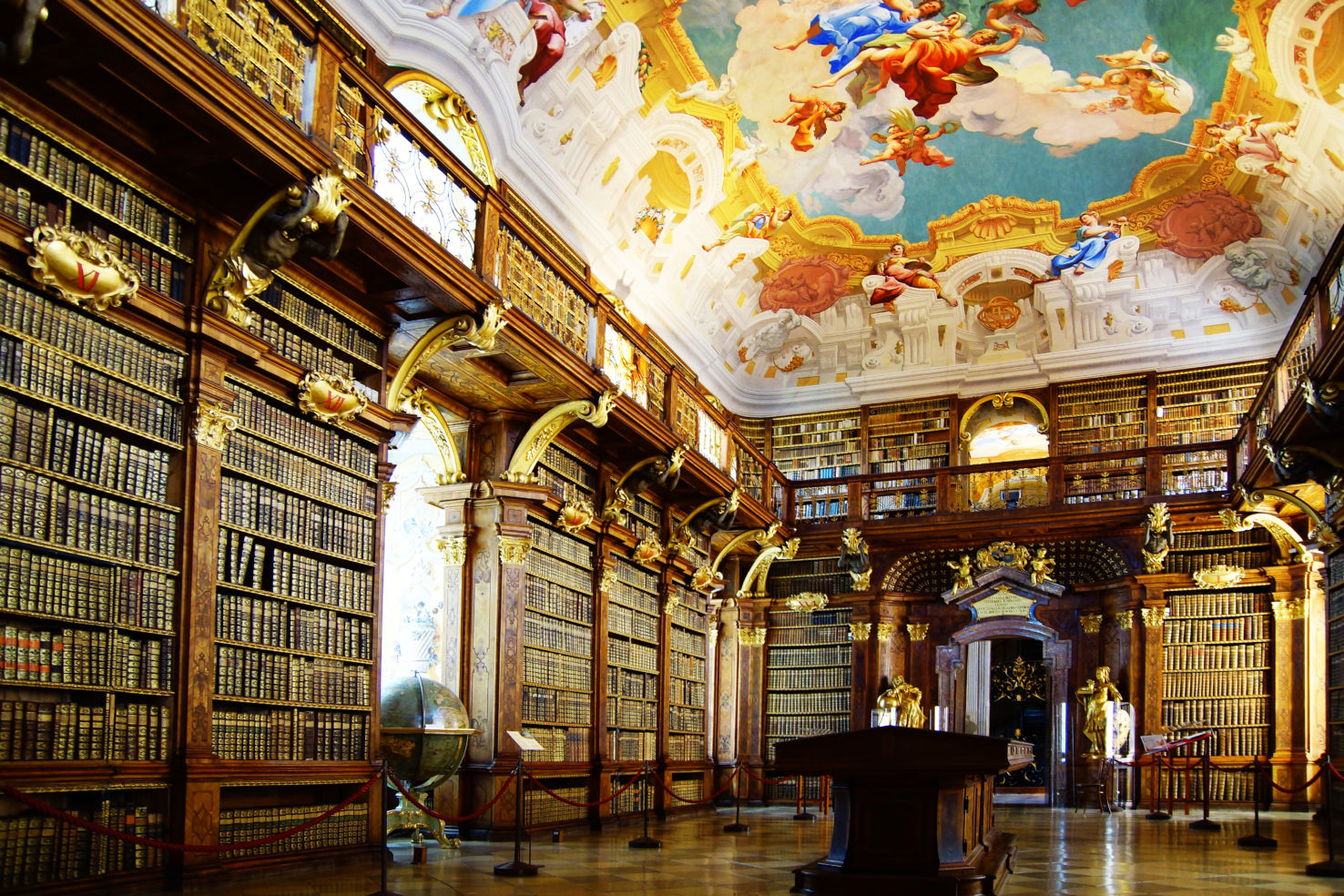 The gorgeous library at Melk Abbey, in Austria