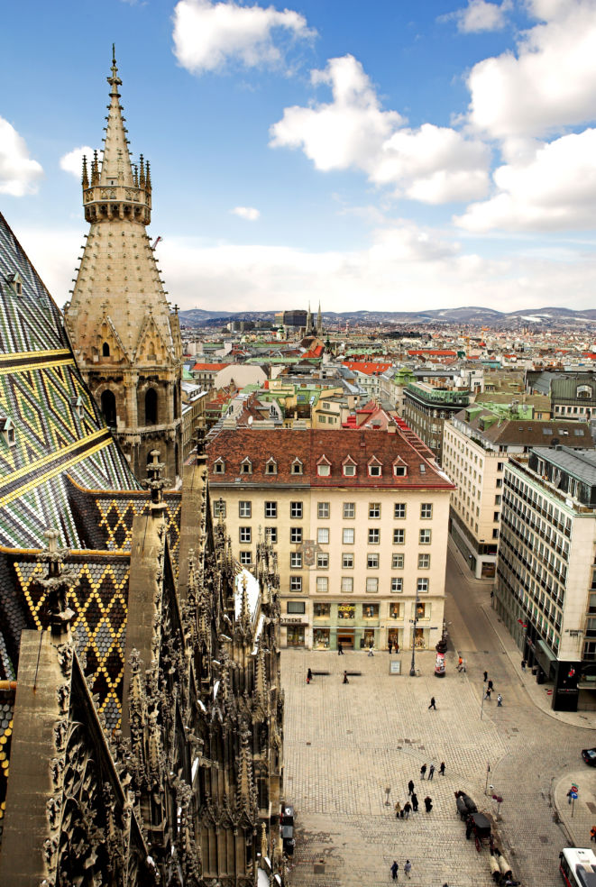 The Vienna skyline, as seen from the top of St. Stephen's Cathedral.