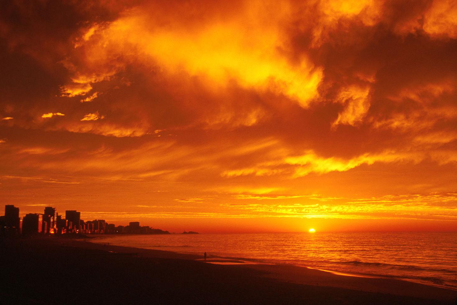 Sunrise on Ipanema Beach in Rio de Janeiro, Brazil