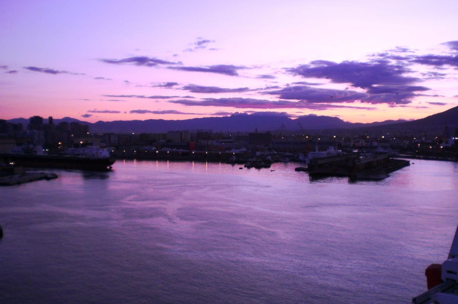 A purple sunrise over Palermo, Sicily