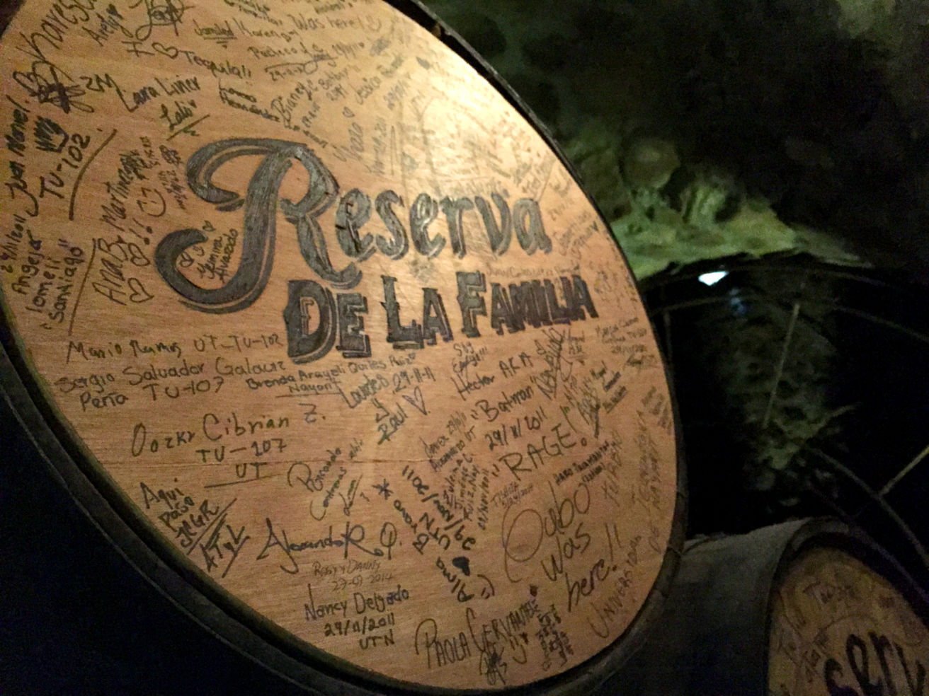 Barrel in the Reserva de la Familia Cellar at La Rojeña in Tequila