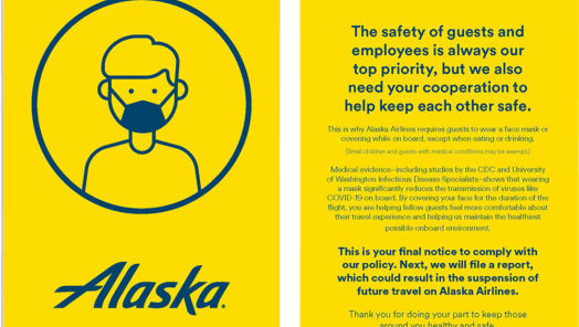 "Alaska Airlines will begin giving passengers a ""yellow card"" for violating its mask policy tumbnail"