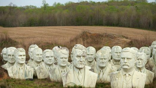How 42 decaying president heads found a home in a Virginia field tumbnail