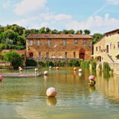 Old thermal baths, medieval village, Bagno Vignoni,Tuscany, Italy