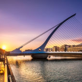 harp shaped, Samuel Beckett Bridge, Liffey river, Dublin, Ireland
