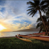 canoe on the shores of Maui, Hawaii